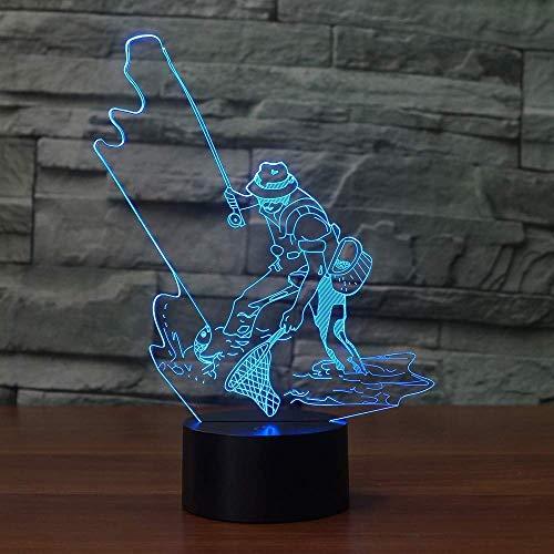 Fishing Man Led 3D Nachtlichter 7 Farbwechsel Fisch 3D Lampe Led Tischlampe Beleuchtung Bestes Geschenk