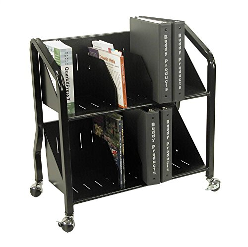 Buddy Products Two-Shelf Sloped Book Cart with Dividers, 15 x 27 x 29 Inches, Black (5413-4)