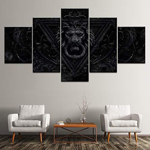 yuandp canvas schilderij leeuw retro ijzeren deurbel 5 stuks muurkunst schilderij modulaire behang posters afdrukken woonkamer decoratie L-30x40 30x60 30x80cm Geen lijst