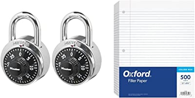 Master Lock 1500T Locker Lock Combination Padlock, 2 Pack, Black & Oxford Filler Paper, 8-1/2'' x 11'', College Rule, 3-Hole Punched, Loose,White