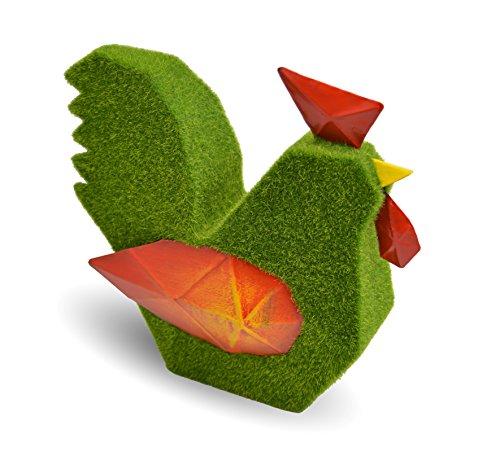 Mundus Merlok Le Coq Décoration Origami, Vert/Rouge