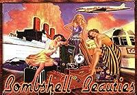 爆弾美女ティンサイン壁の装飾金属ポスターレトロプラーク警告サインオフィスカフェクラブバーの工芸品