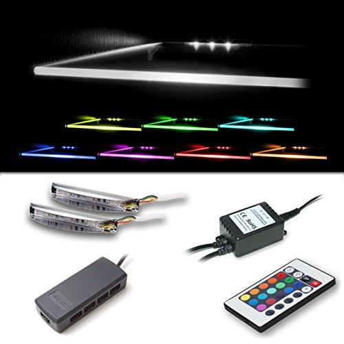 Vladon LED Clips für Glaskantenbeleuchtung in RGB 4er Set