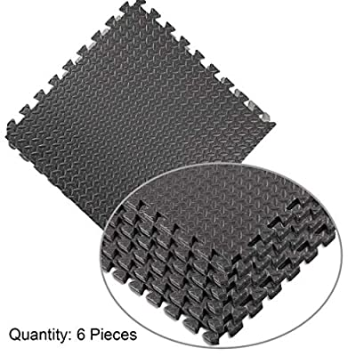 Water-chestnut Puzzle Exercise Mat with Eva Foam Interlocking Tiles 6 Pcs 23.62'' x 23.62'' for Home and Gym Equipment Protective Flooring