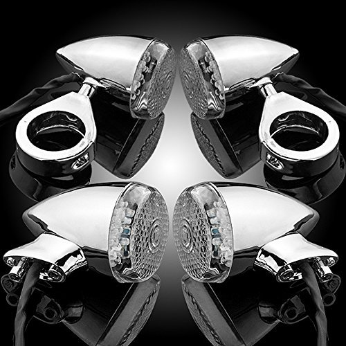 4X Chrome 20 LED Front Rear Turn Signal Fog Light 41mm Relocation Fork Clamp For Harley Softail Dyna Wide Glide V-Rod FLTR