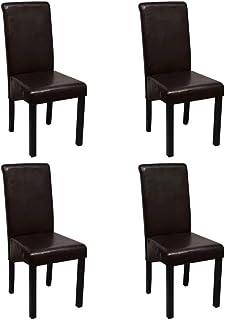 Cikonielf Juego de 4 Sillas de Comedor Marrón, Sillas de Comedor de Cuero Artificial con Patas de Madera, para Cocina y Salón 42 x 54,5 x 96 cm