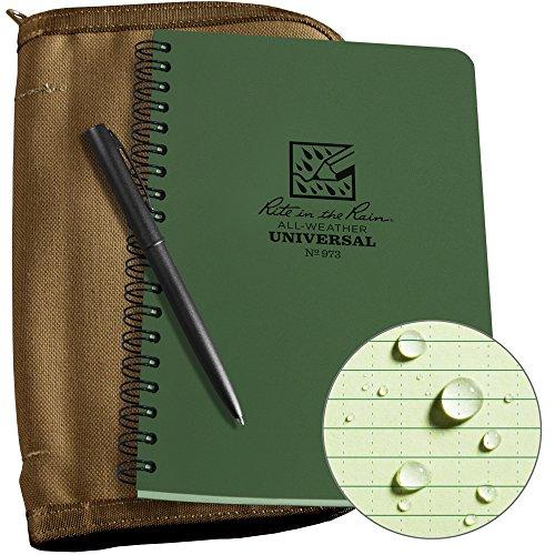 Rite In The Rain Weatherproof Side Spiral Kit: Tan CORDURA Fabric Cover, 4.625' x 7' Green Notebook, and Weatherproof Pen (No. 973-KIT), 8.5 x 5.5 x 0.625