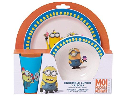Fun House - 005084 - LES MINIONS / MOI MOCHE ET MÉCHANT Ensemble de repas pour enfant comprenant un verre, une assiette et un bol micro-ondable