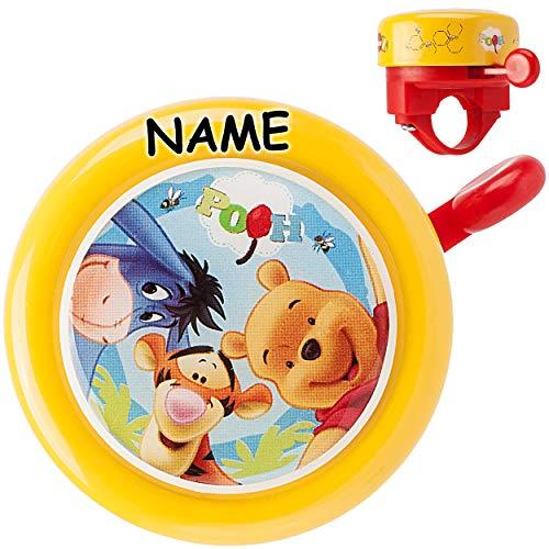 alles-meine.de GmbH Fahrradklingel - Disney Winnie The Pooh - incl. Namen - Klingel für das Fahrrad - Kinder Mädchen & Jungen - Lenkerklingel - Puuh Bär Teddy Tigger - universal ..
