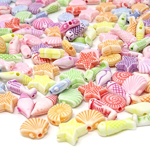 Honbay 100g Acrylic Beads Mini Shell Fish Starfish Beads with Hole for Jewelry Making DIY Craft Accessories