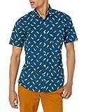 Amazon Essentials Men's Regular-fit Short-Sleeve Print Shirt, Teal Birds, XX-Large