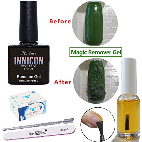 Magic Gel Soak off Remover, Peel Off Magic Burst, Crack Removal Wrap Delete Primer Acrylic Clean 12ML, Nagelriemolie, Pusher, Nagelvijl voor Nagelgel Polish
