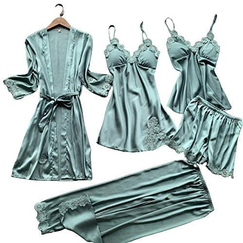 Chongmu 5pcs Mujer Seda Satinada Pyjama Sets Cami Pantalones Cortos Ropa de Dormir Bata Camisón de Noche Lencería