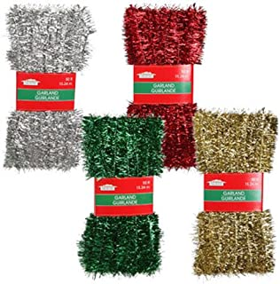 Christmas Decor - Add Sparkle and Pizazz to All Your Holiday Festivities! 50-ft. Tinsel Garlands Assorted Among Green, Gold, Red, and Silver (Set of 4)