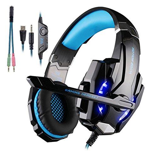 [Casque Gamer pour PS4] KingTop EACH G9000 3.5mm Casque Gaming Headset Ecouteur avec Micro et LED pour PS4 PC Ordinateur Portable Tablet Téléphones Mobiles (Noir-Bleu)