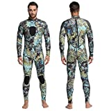 Nataly Osmann Mens Wetsuits 3mm /1.5mm Neoprene Full Body One Piece Camouflage Scuba Diving Suit for Water Sport Spearfishing Snorkeling Swimming Surfing (camo02-3mm, M)