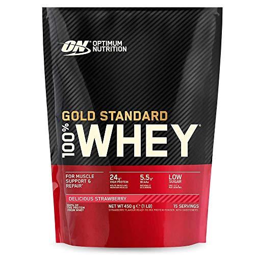Optimum Nutrition Gold Standard Whey Protein Powder Muscle Building Supplements With Naturally Ocurring Glutamine and Amino Acids, Delicious Strawberry, 15 Servings, 450 g, Packaging May Vary