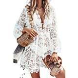 Yassiglia Bikini de manga larga para mujer, monocolor, cuello en V, vestido ancho de encaje floral con cuello en V, Color blanco., L
