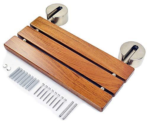 "DIYHD 20"" Modern Teak Wood Folding Shower Seat Bench Brushed Wall Mounted Shower Bench"