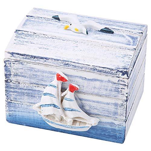 Joyero de Madera portátil Ocean, pequeño Estilo mediterráneo, Hermosa Mini Caja de Madera, para Pendientes de Caramelo, decoración de Escritorio, Regalo de Amigos