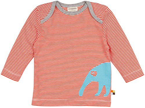 loud + proud Unisex Baby T-Shirt, Ringel aus Bio, Orange (Sunrise Su), 80 (Herstellergröße: 74/80)