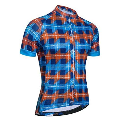 Maillot Ciclismo Hombre - La Bicicleta A Cuadros De Manga Corta Cubre Las Camisetas Montando Camisetas De Ciclismo Ropa De Bicicleta con Aire Seco Rápido Transpirable para Ciclismo De Montaña Y Rop