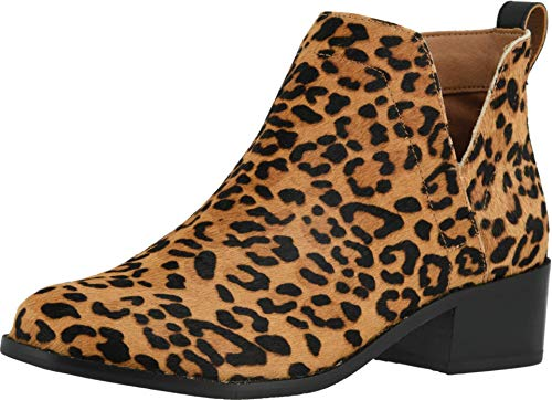 Vionic Women's Hope Clara Ankle Boots - Ladies Booties with Concealed Orthotic Arch Support Leopard Tan 8 Medium US