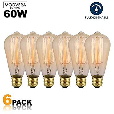 6-Pack Edison Light Bulb 60W - Vintage Squirrel Cage Filament Amber Glass Incandescent Lamps - Antique Vintage Old Fashion ST64 2200K Warm White E26 Dimmable 370 Lumens