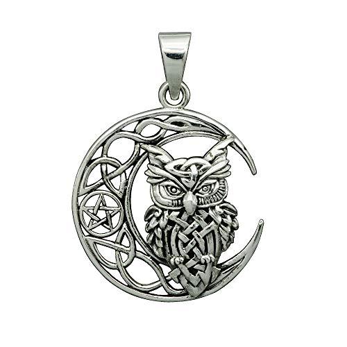 Beldiamo - Colgante de plata de ley 925 con forma de búho de media luna con forma de pentagrama Wicca Pagan, amuleto para hacer nudos y joyas para hombres y mujeres