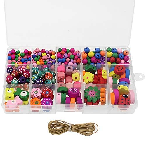 NewZC 400 Pezzi Perline per Collane in Legno 11 Tipi Perline Fai Da Te per Bambini Perline Colorate Dei Bambini per Collane Gioielli Braccialetti Fai Da Te Ragazza