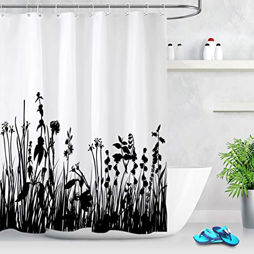 HVEST Black and White Floral Shower Curtain Flowers Leaves Fabric Shower Curtains Watercolor Plants Polyester Bath Curtain for Bathroom Decor, 72W x 72H Inches Shower Curtain Sets with Hooks