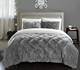 Chic Home Josepha 2 Piece Pinch Pleated Ruffled and Pintuck Sherpa Lined, Twin-XL Comforter, Grey