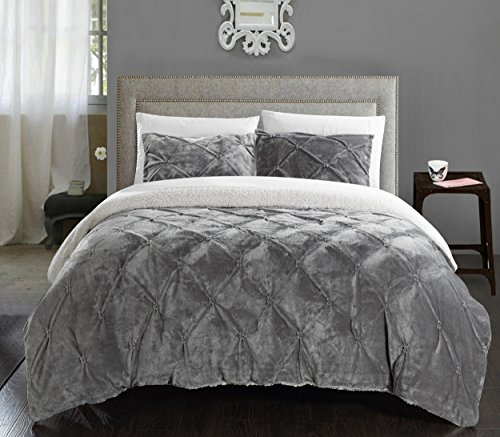 Chic Home 3 Piece Josepha Pinch Pleated Ruffled & Pintuck Sherpa Lined Comforter Set, King, Grey