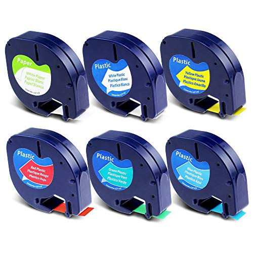 Label KINGDOM Compatible Label Tape Replacement for DYMO LetraTag Paper/Plastic Label Maker Refills 91330 91331 91332 91333 91334 91335 for Dymo Letra Tag LT100H LT100T Puls, 1/2'' W x 13' L, 6-Pack