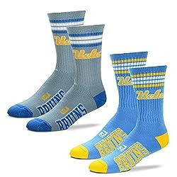 For Bare Feet Men's NCAA (2-Pack)-4 Stripe Deuce Crew Socks (UCLA Bruins-2 Pack-Team Color & Grey, Medium (5-10))