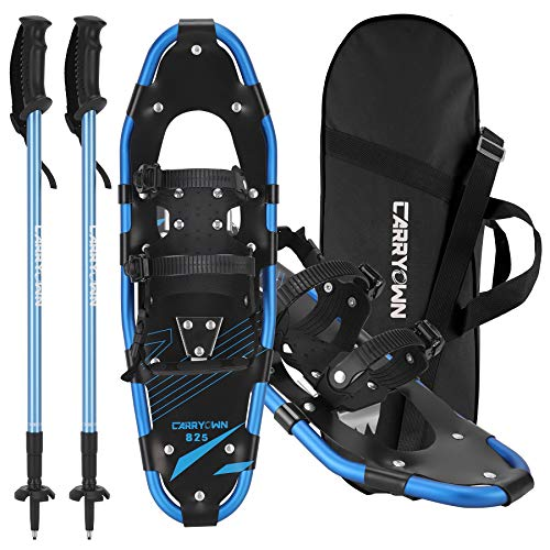 Carryown Xtreme Light Weight Snowshoes Set for Adults Men Women Youth Kids, Aluminum Alloy Terrain Snow Shoes with Trekking Poles and Carrying Tote Bag, 14' /21'/ 25'/ 30'