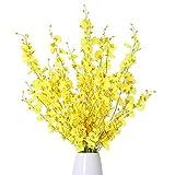 Kisflower 12Pcs Flores de orquídeas Artificiales Flores de orquídeas Falsas de Seda Ramo de Flores para la decoración del hogar (Amarillo)