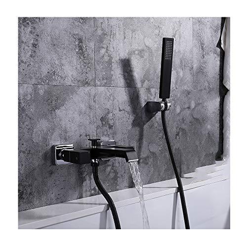 GLYYR Messing Wasserfall Badewannenarmaturen mit Kaltes und Heißes Wasser Schwarz Wandhalterung Badewanne Wasserhahn mit Handbrause