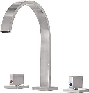 Aquafaucet Waterfall 8-16 Inch Brushed Nickel 3 Holes 2 Handles Widespread Bathroom Sink Faucet Commercial