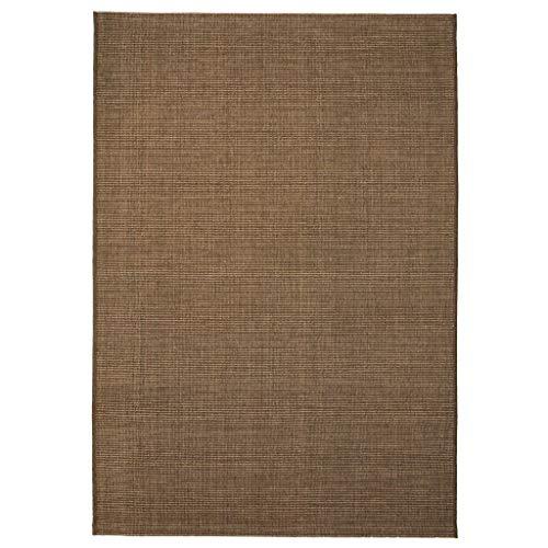 Festnight Webteppich Sisal-Optik Indoor/Outdoor Teppich Textilgewebe Teppiche 160 x 230 cm Braun für Wohnzimmer, Balkon oder Terasse