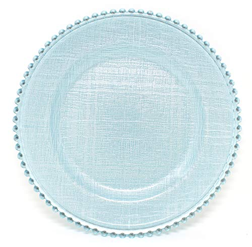 Cross-stitch Pattern Glass Charger 12.6 Inch Dinner Plate With Beaded Rim - Set of 4 - Light Blue