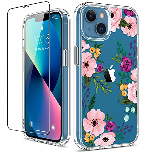 GiiKa for iPhone 13 Case with Screen Protector, Clear Full Body Protective Floral Girls Women Shockproof Hard Case with TPU Bumper Cover Phone Case for iPhone 13, Small Flowers