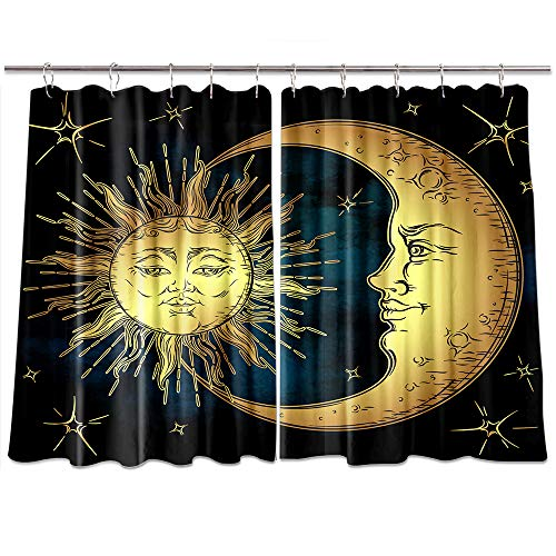 NYMB Boho Antique Hippie Window Curtains, Golden Sun Crescent Moon and Stars Mandala Curtains, Kitchen Decorations Window Drapes, Window Treatment Sets with 2 Panels, 55X39Inches (Multi4)