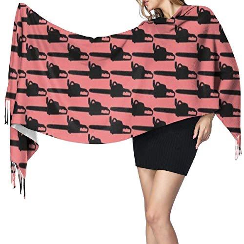 Alive Inc Schal-Schal wickelt Kettensägen-roten großen Schal-super weichen warmen luxuriösen für Frauen-Büroangestellt-Spielraum ein