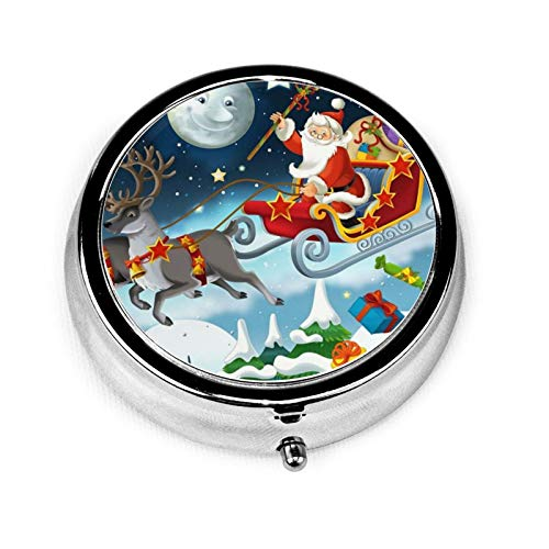 Merry Christmas Santa Claus Reindeer Sled Pill Case,Compact 3 Compartment Medicine Case,Portable Round Travel Camping Pill Box for Pocket Or Purse