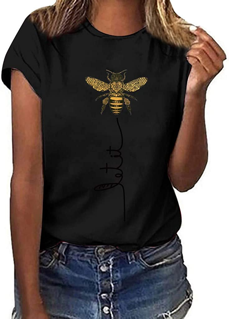 Shirts for Women, Women Funny Bee Graphic Tee Top Casual Short Sleeve Tshirt Casual Summer Vacation Shirts