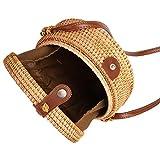 Miyanuby Damen Umhängetasche Rattan Handgemachte Vintage Tasche Handtaschen für Frauen Travel Strandtasche Sommer Umhängetasche - 6