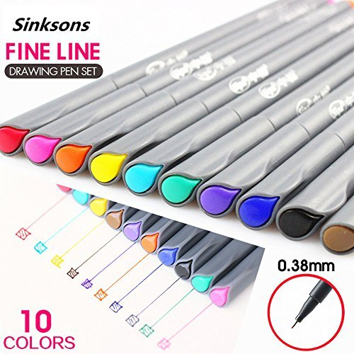 Fineliner Color Pen Set, 0.38 mm Colored Fine Line Point, Sketch Drawing Pen, Porous Fine Point Markers Perfect for Coloring Book and Bullet Journal Art Projects, 10 Colors