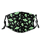 Green Alien UFO Moon Unisex Face Mask with Adjustable Ear Loops, Reusable Washable Breathable Face Cover Cloth Bandanas Dust Protection for Outdoor Sports