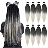 Ubeleco 8 Packs Pre-stretched Braiding Hair 20 Inch Yaki Texture Hair Extensions Hot Water Setting Professioanl Synthetic Fiber Crochet Braids (1B/Silver)